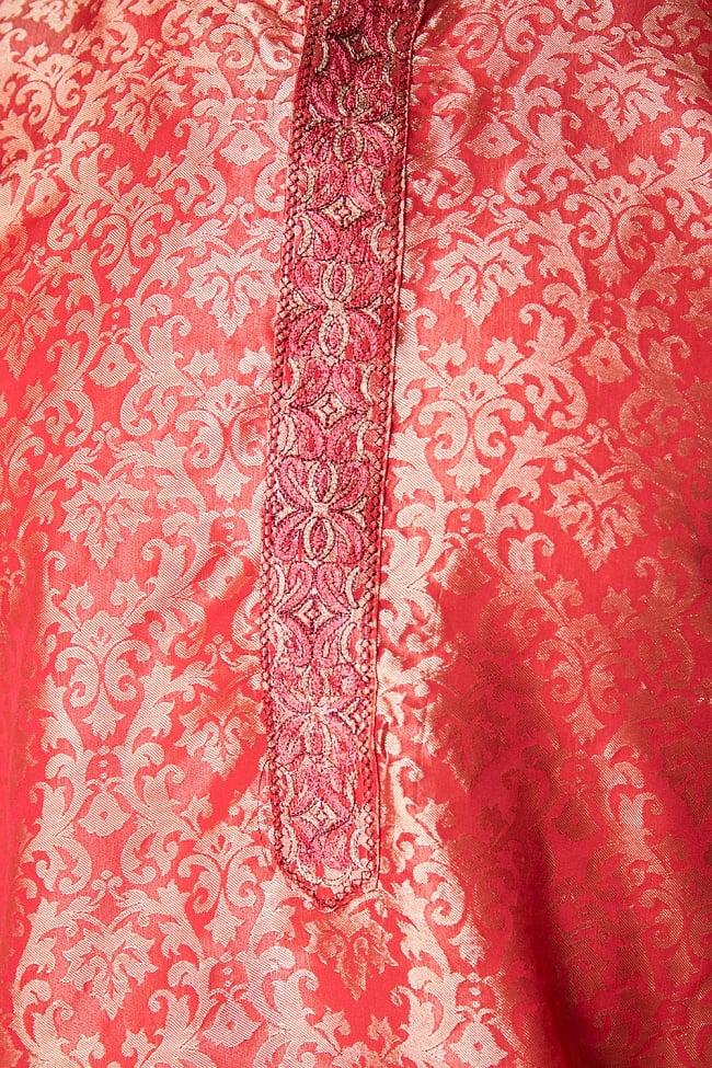 クルタ・パジャマ【光沢生地 シャイニングレッド】 5 - 華やかな装飾が施されています。