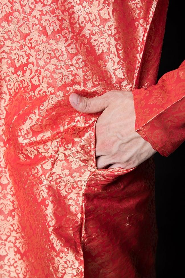 クルタ・パジャマ【光沢生地 シャイニングレッド】 7 - ポケットもあるので小物を入れるのにも便利です。