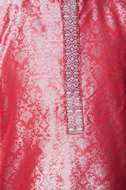 クルタ・パジャマ【光沢生地 スパークリングピンク】 5 - 華やかな装飾が施されています。