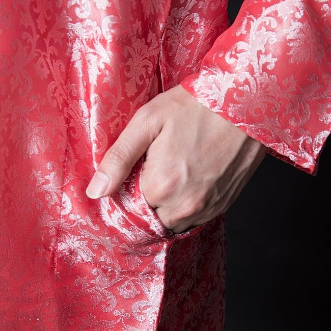 クルタ・パジャマ【光沢生地 スパークリングピンク】 7 - ポケットもあるので小物を入れるのにも便利です。