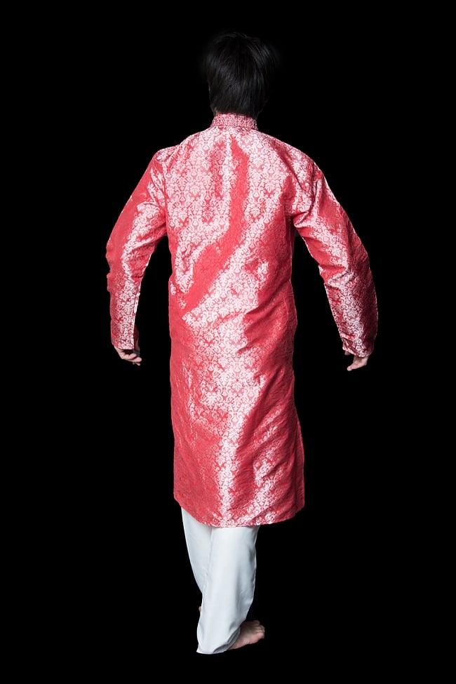 クルタ・パジャマ【光沢生地 スパークリングピンク】 3 - 背面からみてみました。