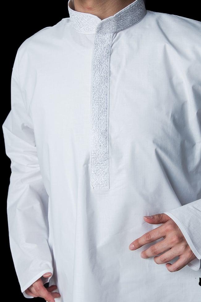 クルタ・パジャマ【プレーンホワイト刺繍入り】 5 - 華やかな装飾が施されています。