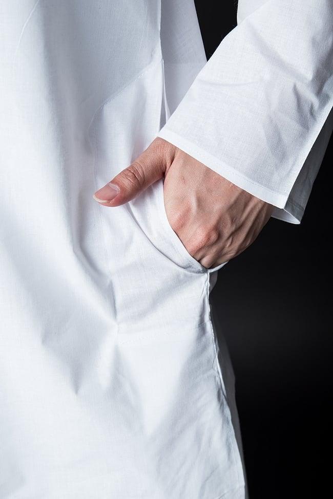 クルタ・パジャマ【プレーンホワイト刺繍入り】 7 - ポケットもあるので小物を入れるのにも便利です。
