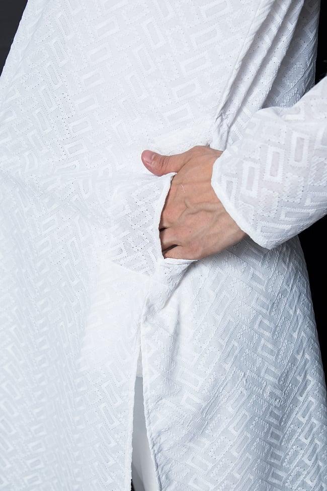 クルタ・パジャマ【ホワイト ブロックパターン】 7 - ポケットもあるので小物を入れるのにも便利です。