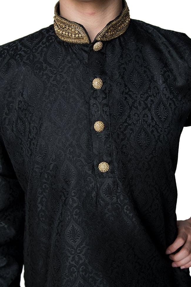クルタ・パジャマ - グランドブラック 5 - 華やかな装飾が施されています。