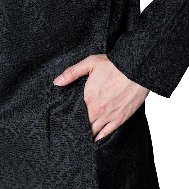 クルタ・パジャマ - グランドブラック 7 - ポケットもあるので小物を入れるのにも便利です。