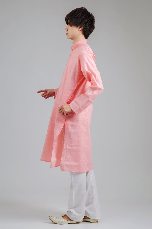 〔各色あり〕パステル・ライトカラー系 クルタ・パジャマ上下セット インドの男性民族衣装 2 - 横からの写真です