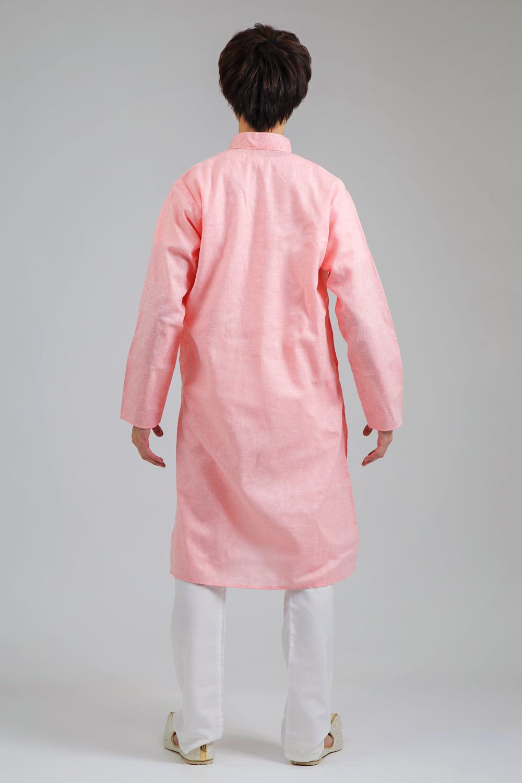〔各色あり〕パステル・ライトカラー系 クルタ・パジャマ上下セット インドの男性民族衣装 3 - 後ろからです