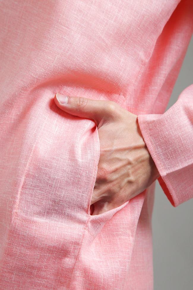 〔各色あり〕パステル・ライトカラー系 クルタ・パジャマ上下セット インドの男性民族衣装 5 - さり気なくポケットも、お腹の脇に両方付いています。