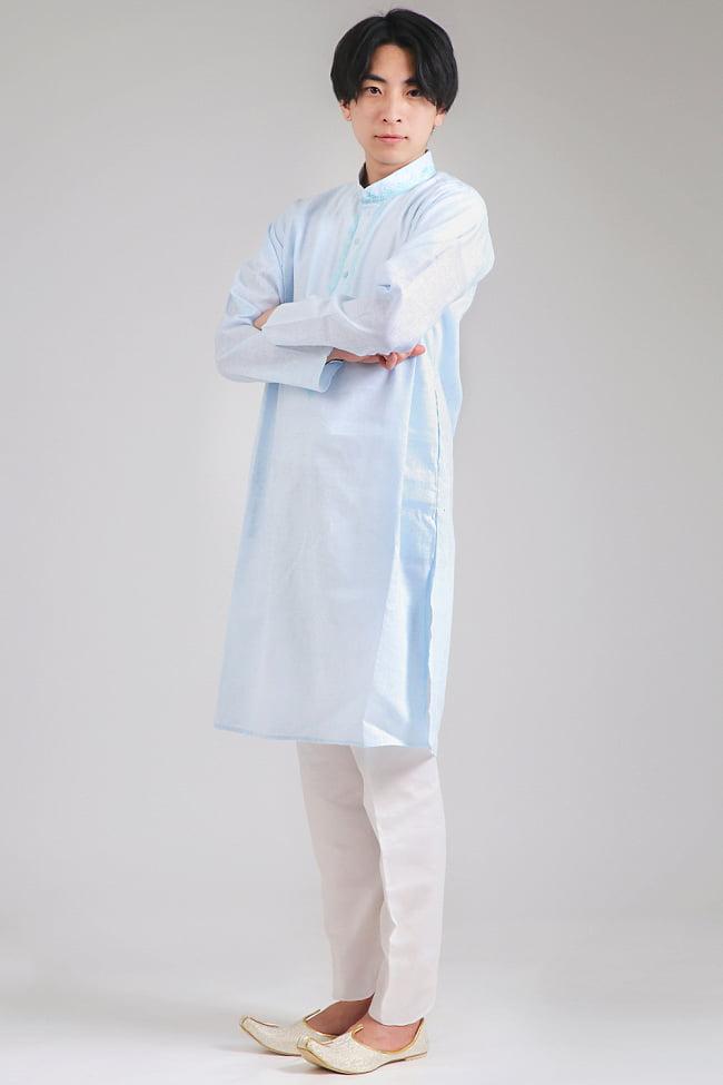 〔各色あり〕パステル・ライトカラー系 クルタ・パジャマ上下セット インドの男性民族衣装 6 - 色違いの写真です。モデル着用は38号です。(モデル身長180cm 普段Mサイズの服) また、靴は別売りです。「モジャリ」という靴で、クルタに似合うのでオススメです。