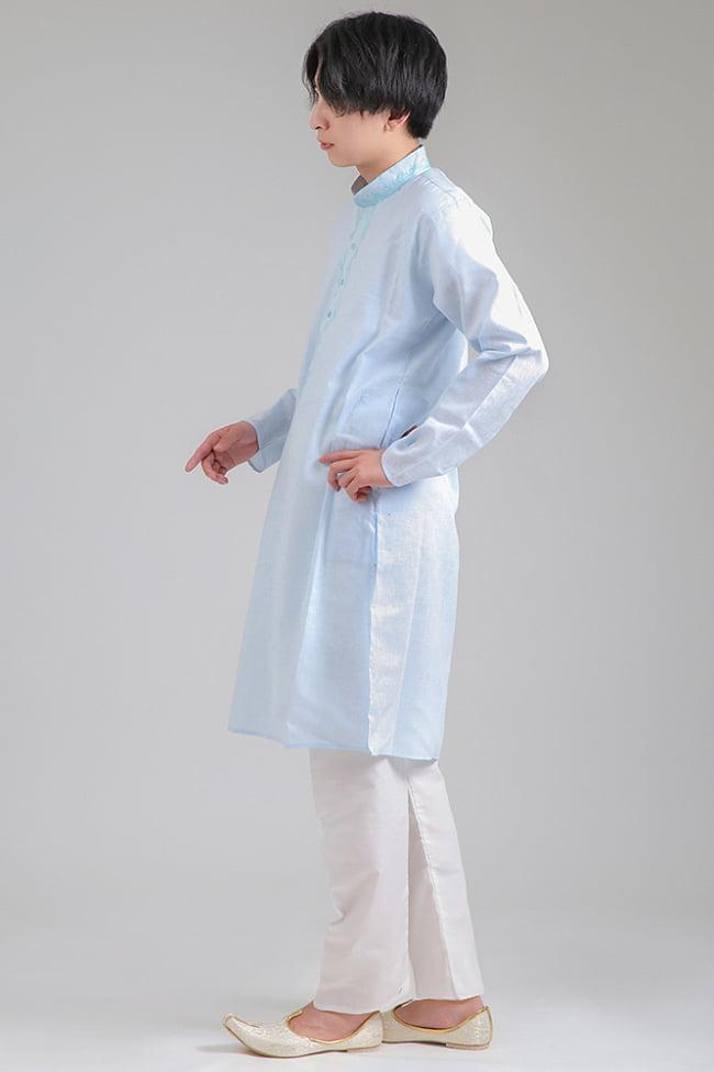 〔各色あり〕パステル・ライトカラー系 クルタ・パジャマ上下セット インドの男性民族衣装 7 - 横からの写真です