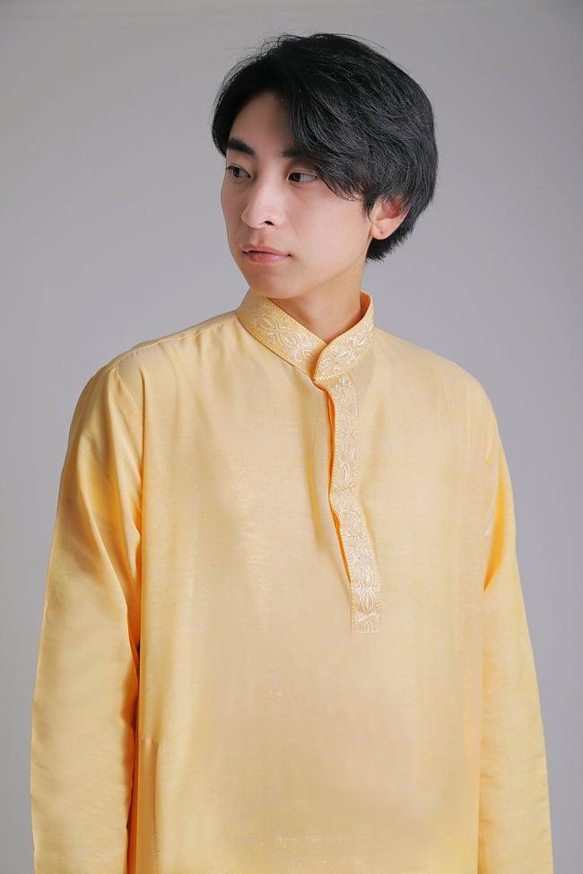 〔各色あり〕比翼仕立て クルタ・パジャマ上下セット インドの男性民族衣装 4 - 胸元の拡大写真です