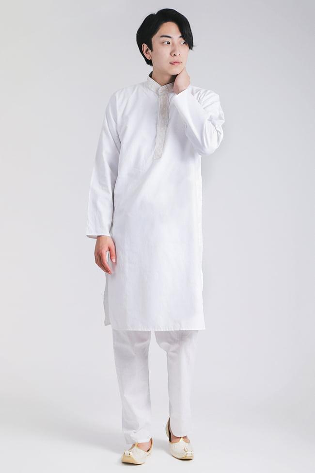 〔各色あり〕比翼仕立て クルタ・パジャマ上下セット インドの男性民族衣装 6 - 色違いの写真です。モデル着用は38号です。(モデル身長180cm 普段Mサイズの服) また、靴は別売りです。「モジャリ」という靴で、クルタに似合うのでオススメです。