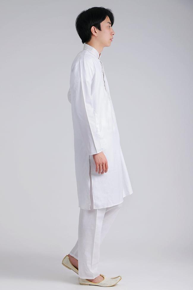 〔各色あり〕比翼仕立て クルタ・パジャマ上下セット インドの男性民族衣装 7 - 拡大写真です