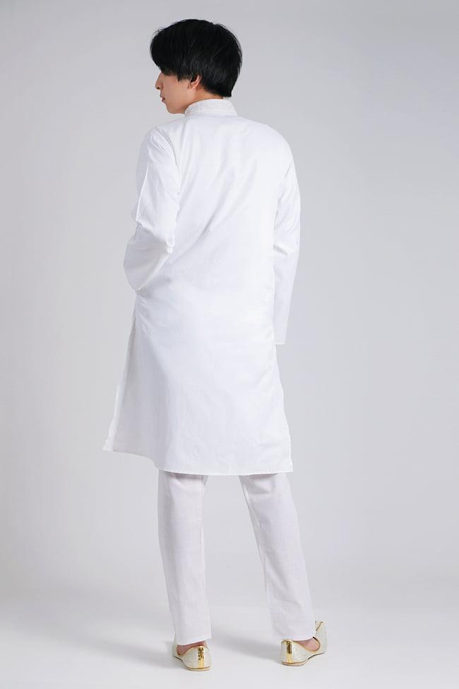 〔各色あり〕比翼仕立て クルタ・パジャマ上下セット インドの男性民族衣装 8 - 上着の全体写真です