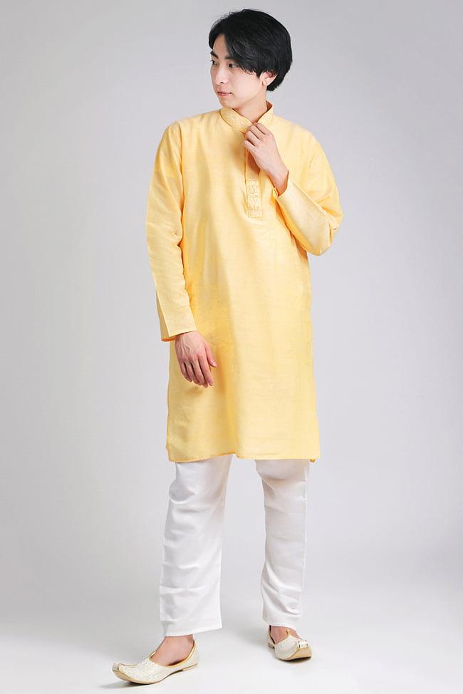 〔各色あり〕比翼仕立て クルタ・パジャマ上下セット インドの男性民族衣装の写真
