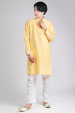 〔各色あり〕比翼仕立て クルタ・パジャマ上下セット インドの男性民族衣装の商品写真
