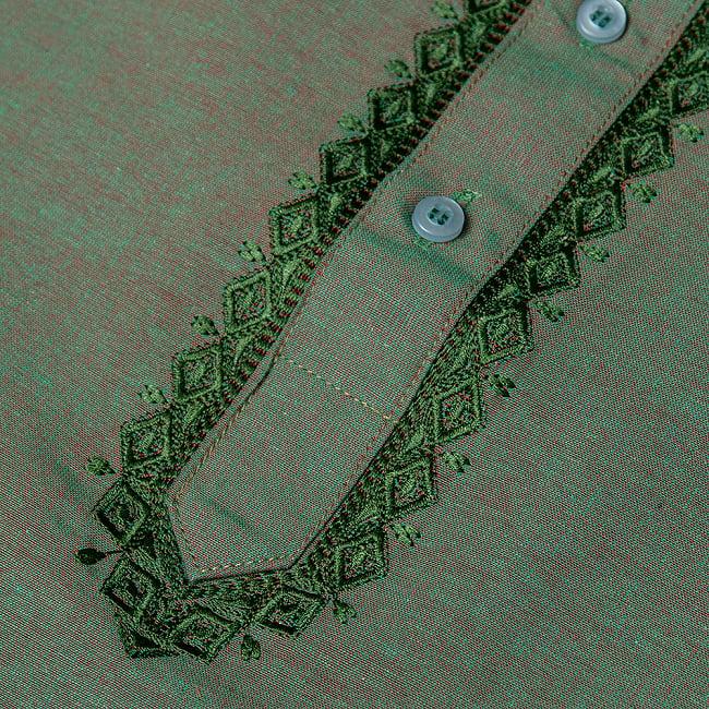 〔各色あり〕ダイヤ刺繍 クルタ・パジャマ上下セット インドの男性民族衣装 10 - 拡大写真です