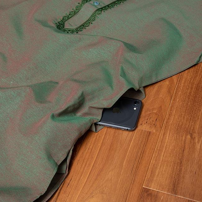 〔各色あり〕ダイヤ刺繍 クルタ・パジャマ上下セット インドの男性民族衣装 13 - ポケットの写真です