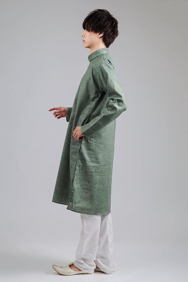 〔各色あり〕ダイヤ刺繍 クルタ・パジャマ上下セット インドの男性民族衣装 2 - 横からの写真です