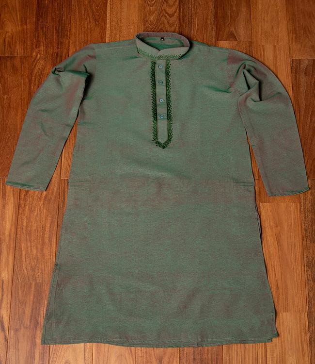 〔各色あり〕ダイヤ刺繍 クルタ・パジャマ上下セット インドの男性民族衣装 6 - 上着の全体写真です