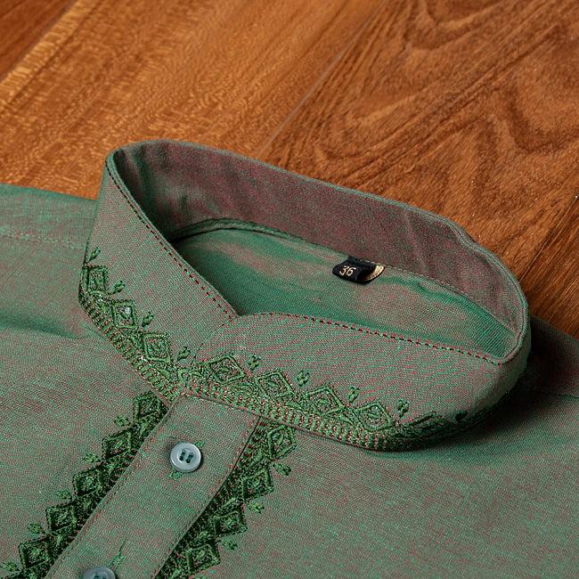 〔各色あり〕ダイヤ刺繍 クルタ・パジャマ上下セット インドの男性民族衣装 8 - 首周りの写真です