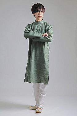 〔各色あり〕ダイヤ刺繍 クルタ・パジャマ上下セット インドの男性民族衣装の商品写真