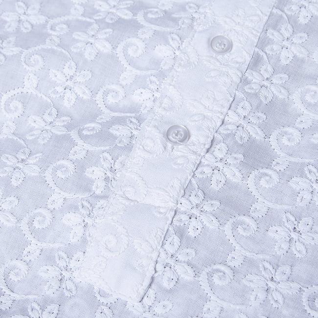 ラクノウ刺繍入り ホワイトクルタ・パジャマ上下セット インドの男性民族衣装 11 - 拡大写真です