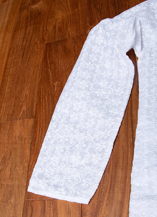 ラクノウ刺繍入り ホワイトクルタ・パジャマ上下セット インドの男性民族衣装 12 - 腕周りの写真です