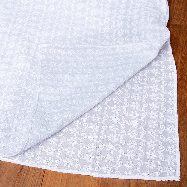 ラクノウ刺繍入り ホワイトクルタ・パジャマ上下セット インドの男性民族衣装 15 -