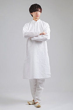 ラクノウ刺繍入り ホワイトクルタ・パジャマ上下セット インドの男性民族衣装