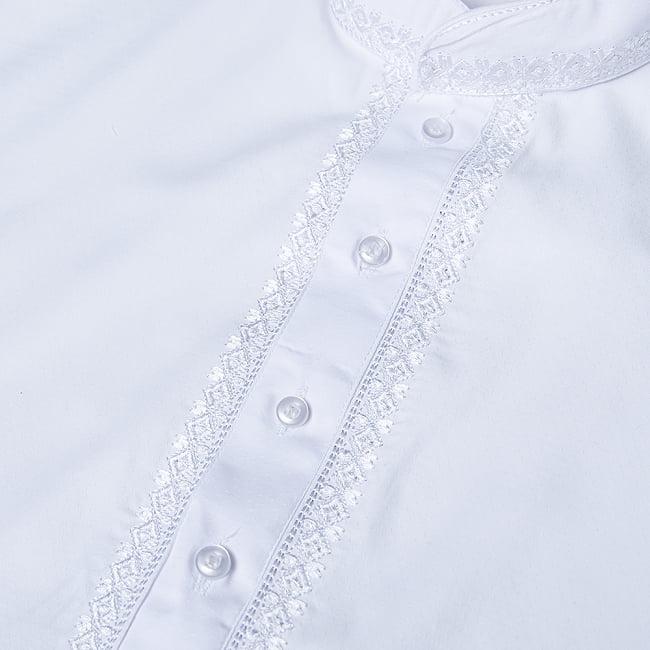シンプルホワイト クルタ・パジャマ上下セット インドの男性民族衣装 10 - ボタン周りです