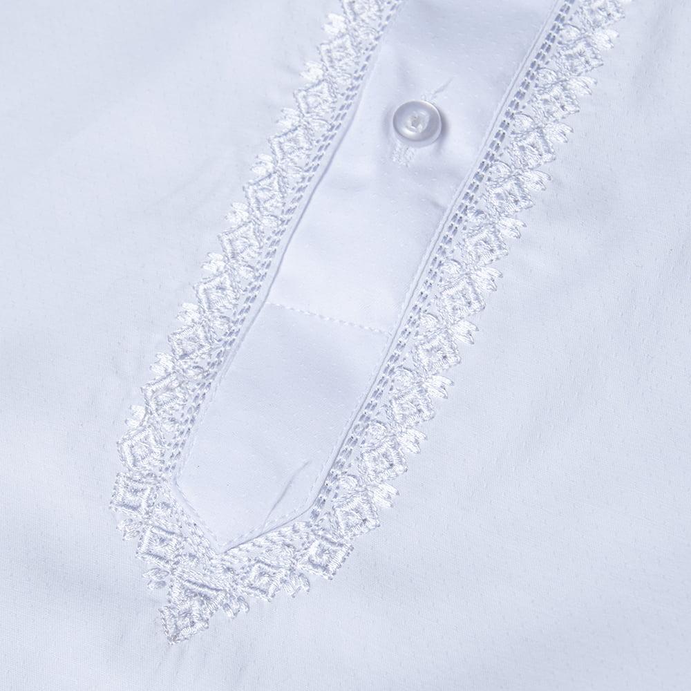 シンプルホワイト クルタ・パジャマ上下セット インドの男性民族衣装 11 - 拡大写真です