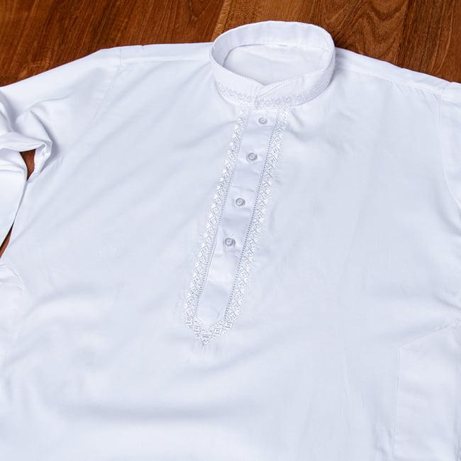 シンプルホワイト クルタ・パジャマ上下セット インドの男性民族衣装 8 - 拡大写真です