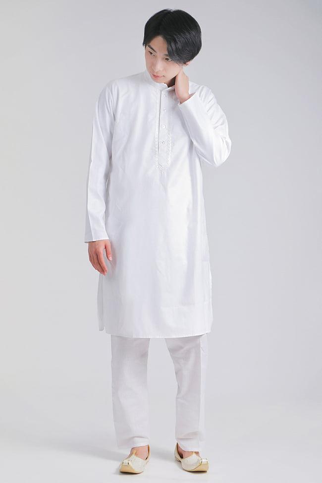 シンプルホワイト クルタ・パジャマ上下セット インドの男性民族衣装 1