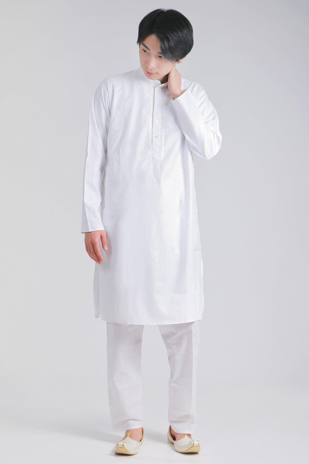 シンプルホワイト クルタ・パジャマ上下セット インドの男性民族衣装の写真