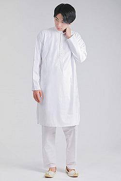 シンプルホワイト クルタ・パジャマ上下セット インドの男性民族衣装