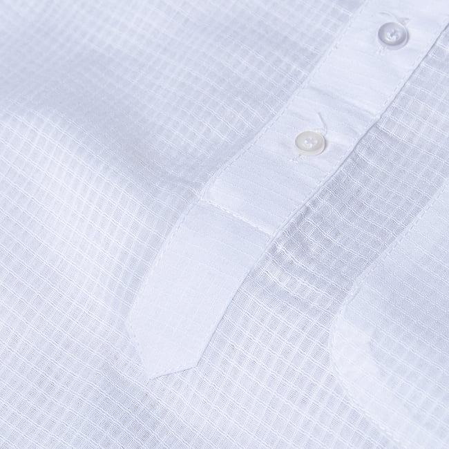格子模様のホワイト クルタ・パジャマ上下セット インドの男性民族衣装 9 - ボタン周りです