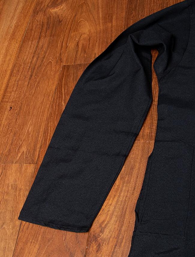 比翼仕立てのブラック クルタ・パジャマ上下セット インドの男性民族衣装 12 - 拡大写真です