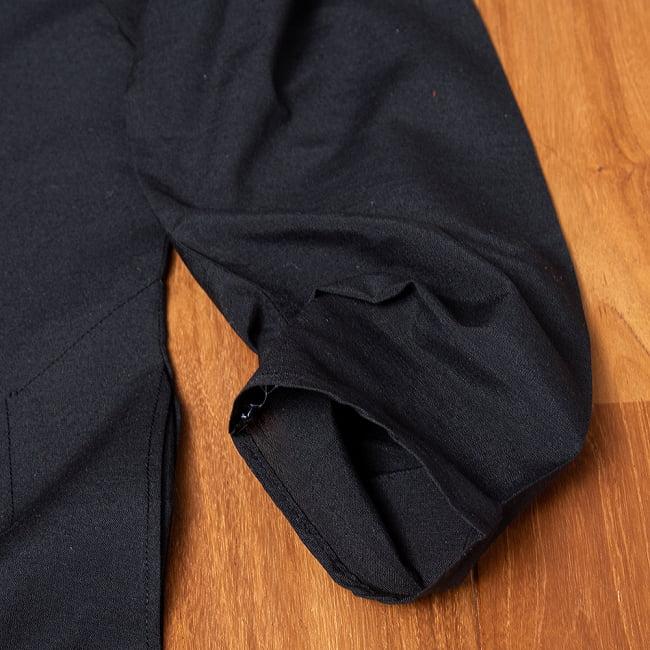 比翼仕立てのブラック クルタ・パジャマ上下セット インドの男性民族衣装 13 - ポケットの写真です