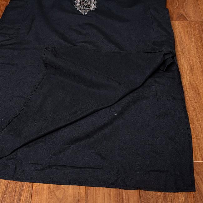 比翼仕立てのブラック クルタ・パジャマ上下セット インドの男性民族衣装 15 -