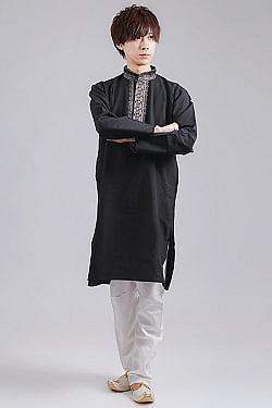 比翼仕立てのブラック クルタ・パジャマ上下セット インドの男性民族衣装の商品写真