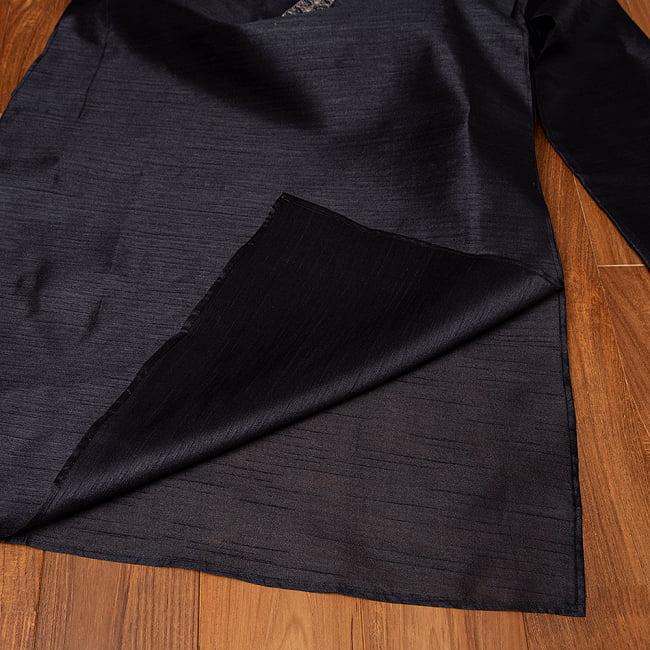 比翼仕立ての光沢ブラック クルタ・パジャマ上下セット インドの男性民族衣装 15 -