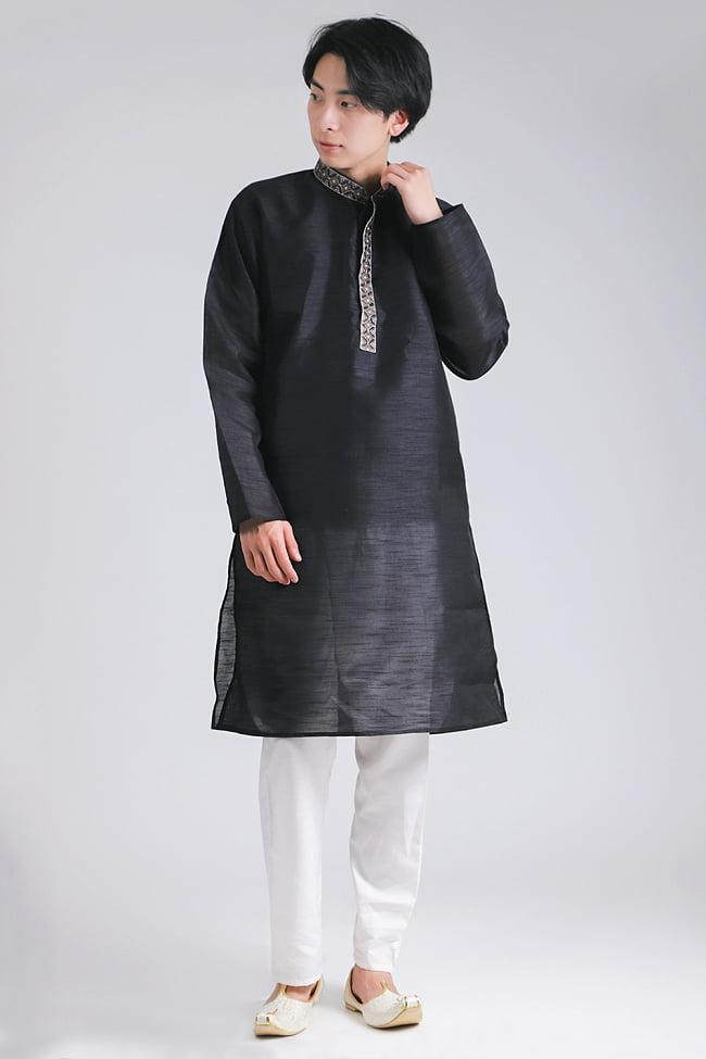比翼仕立ての光沢ブラック クルタ・パジャマ上下セット インドの男性民族衣装 1