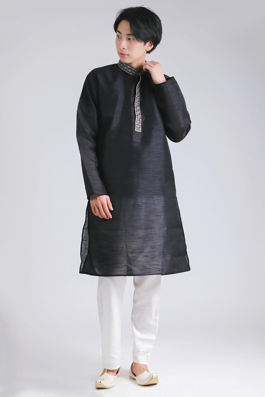 比翼仕立ての光沢ブラック クルタ・パジャマ上下セット インドの男性民族衣装の写真