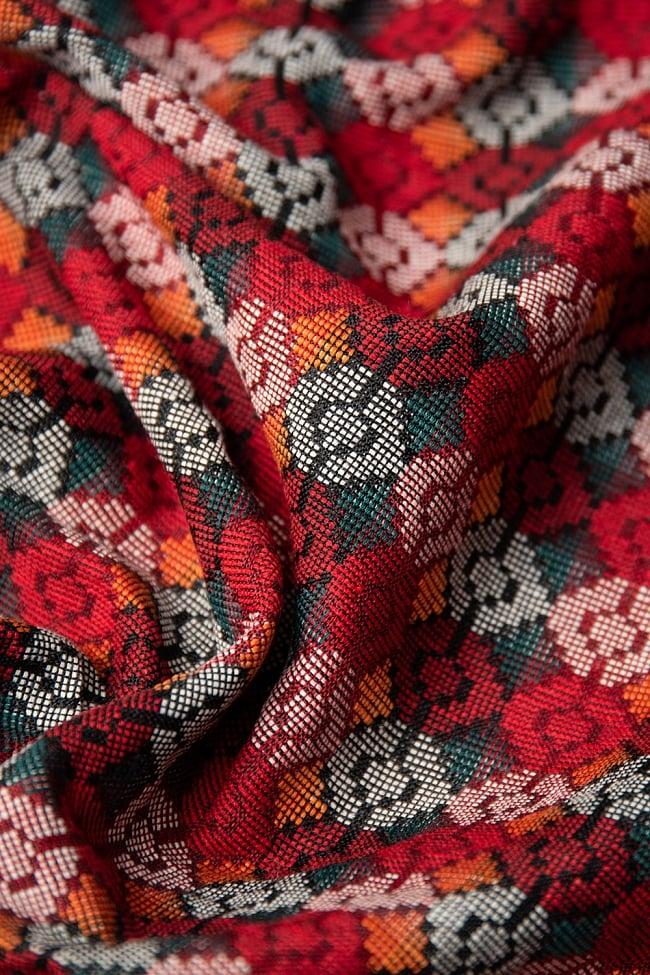 ネパール伝統のダッカ織り布 1メートル切り売り 3 - 柔らかな質感と幾何学模様が美しく調和しています。