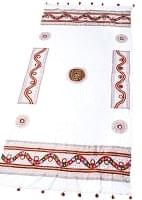 〔220cm*110cm〕カッチ刺繍のミラーワーク付きクロス - ホワイト