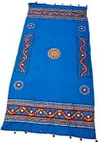 〔220cm*110cm〕カッチ刺繍のミラーワーク付きクロス - ブルー
