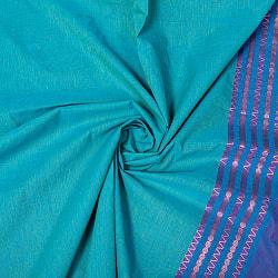 南インドのハーフボーダー・シンプル・コットン布〔幅約110cm〕 - 黄緑×オレンジ