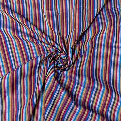 〔1m切り売り〕南インドのストライプ布〔幅約111cm〕